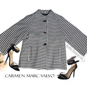 NWT Carmen Marc Valvo Houndstooth Blazer